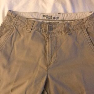 Broken-in khakis by old navy